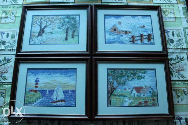 Quadros estações do ano em ponto cruz emoldurados