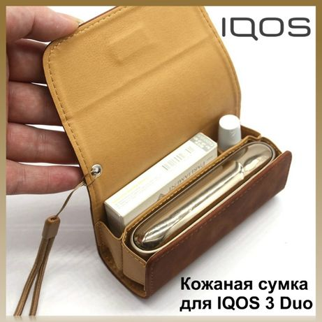 Кожаный чехол для IQOS 3/3 Duo.Сумка из кожи для iqos 3 duo/Айкос