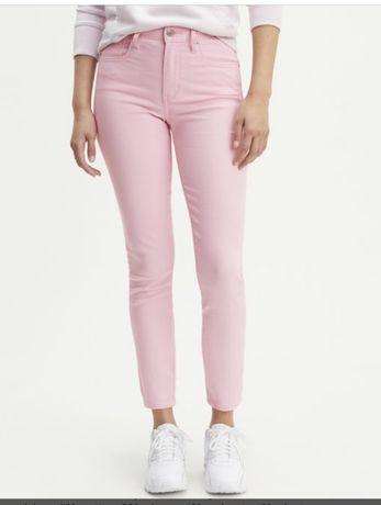 Levis skinny jeans wysoki stan dzinsy spodnie rozowe 26-27