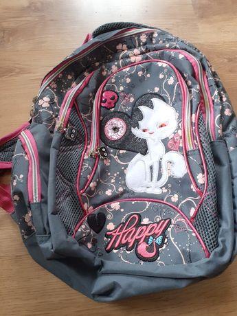 Plecak szkolny szary z różowym