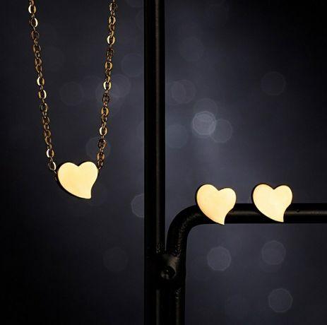 Romantyczny Złoty Komplet Biżuterii Naszyjnik + Kolczyki