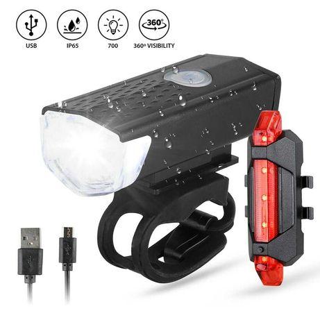 Lanternas USB para bicicletas frente e atrás