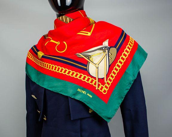Фирменный шелковый платок Richel Paris.Большой платочек в стиле Hermes