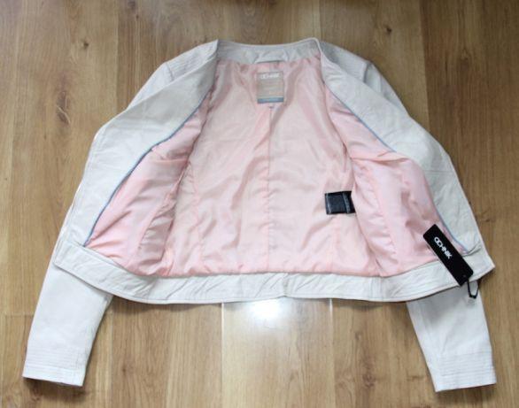 OCHNIK skora OWCZA skórzana kurtka bezowa ramoneska xs 34 s 36 biala