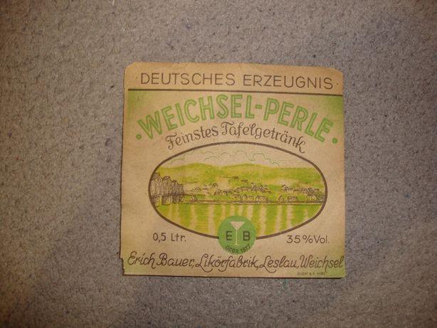 Stara Niemiecka kartka na butelkę Deutsches Erzeugnis