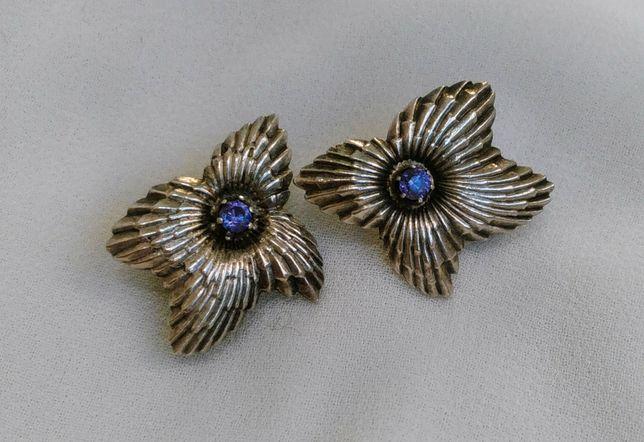 Серьги с камнем серебро 925 проба СССР
