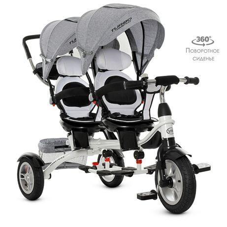 Велосипед трёхкратный для двоих детей с ручкой для родителей