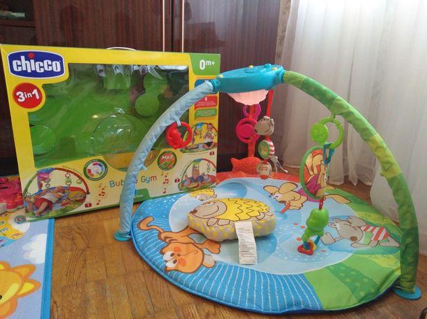 Игровой развивающий центр коврик музыкальный chicco bubble gym