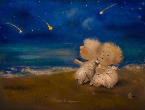 """Копия картины Гапчинской, Гапчинская """"Звезды в ладошки..."""". Рисую любы"""