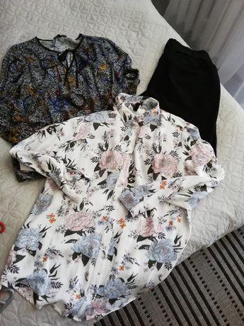 Spodnie 7/8, pasek, dwie koszulę, damskie M