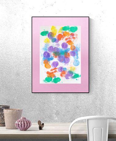 abstrakcja na ścianę, dekoracja w nowoczesnym stylu, pastelowa grafika