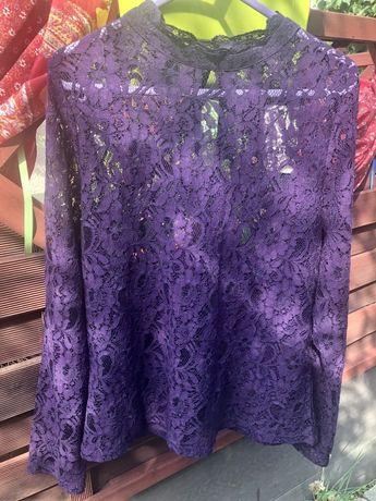 Elegancka fioletowa bluzka z koronki. Roz.L Nowa