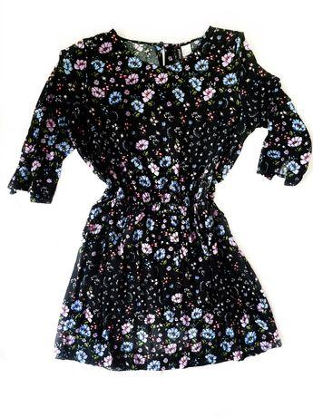 Sukienka czarna w kwiaty przed kolano XXL 44