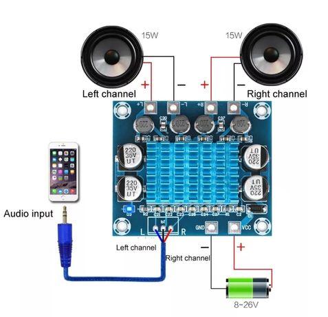 цифровой стерео усилитель мощности TPA3110 XH-A232 30 Вт + 30 Вт,