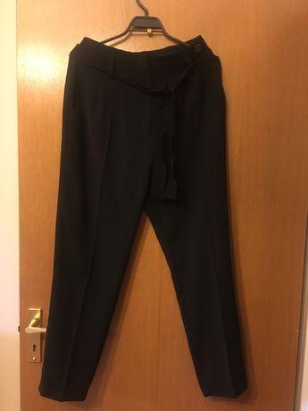 Eleganckie czarne spodnie z kantem BSB Collection