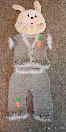 Оригинальный вязаный Новогодний костюм зайчика 86-92 см