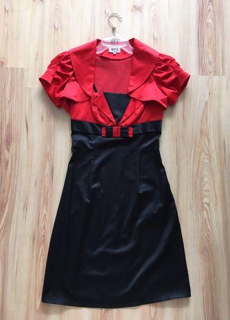 Klasyczna mała czarna czerwona satynowa sukienka midi bolerko wesele
