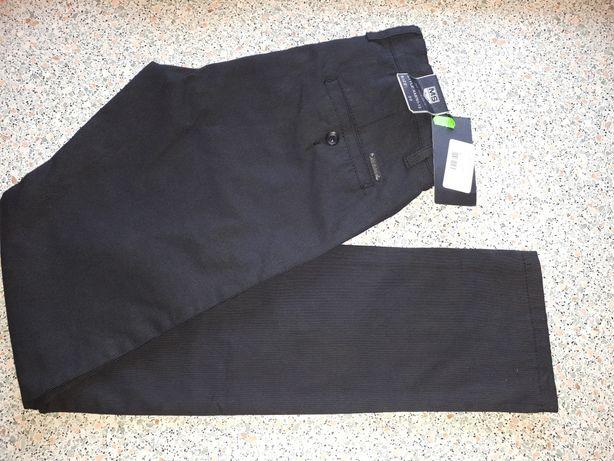 Nowe r.30 slim eleganckie w paski czarne spodnie xs s młodzieżowe