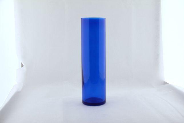 Wazon szklany niebieski wysokość 28cm