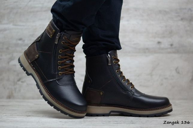 ZANGAK 136 зимние кожаные мужские фирменные ботинки сапоги зимові