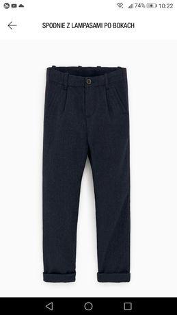 Zara, nowe eleganckie spodnie Chinosy z lampasem dla chłopca rozm. 152