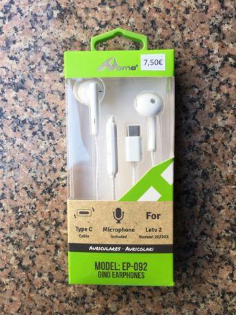 Auriculares com conector Type-C  (USB-C) e microfone /Type-C earphones