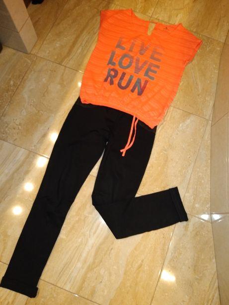 Czarne spodnie i top bluzka Run dres