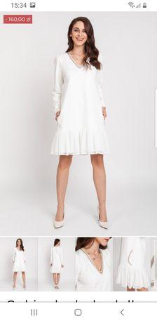 Biała sukienka z dzianiny baby doll Milena Płatek xxl