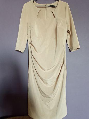 Sukienka MIDI beżowa 42 40