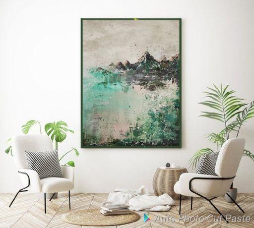 Obraz Abstrakcja zieleń góry jezioro 100x80 100x120