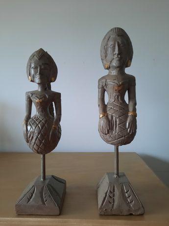 Estatuetas de madeira sereias arte