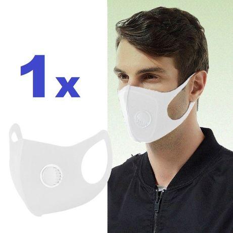 MASKA maseczki ochronne maski na twarz wielorazowa Biała z zaworem