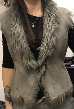 kamizelka szary kożuszek
