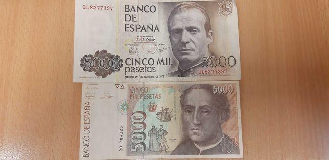 Banknoty 5000 tys peset