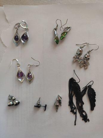 Kolczyki, metal, eleganckie, czarne, różowe, fioletowe, zielone, goth