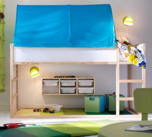 Łóżko Ikea kura drewniane dzieciece piętrowe,  baldachim domek
