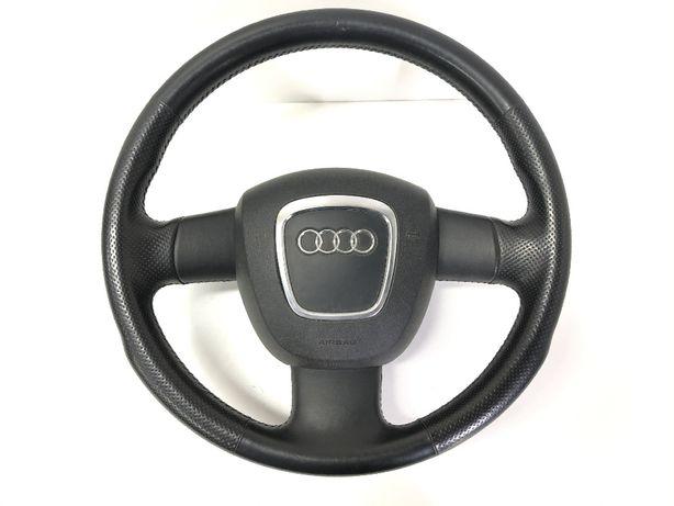 Audi A4 B7 kierownica skórzana trójramienna skóra IDEAŁ Airbag A6 C6