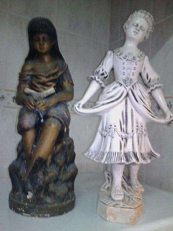 2 Bonecas Estátuas de 50 cm Altura Loiça Antigas Centenárias