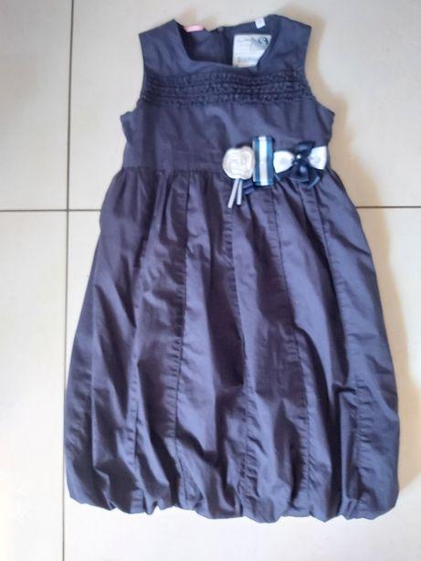 Elegancka granatowa sukienka, bawełna