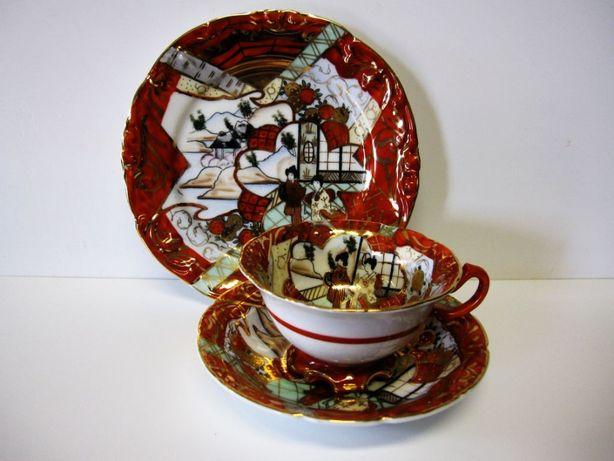 lindo vintage conjunto de chá -asiático-pintado a mão-Vista Alegre