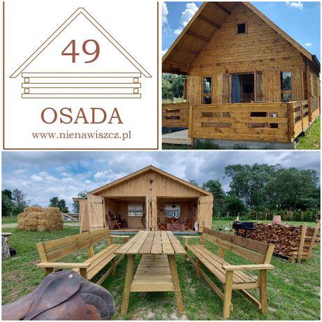 Domek wakacyjny dom na wynajem chata osada szopa  biesiadna wigwam