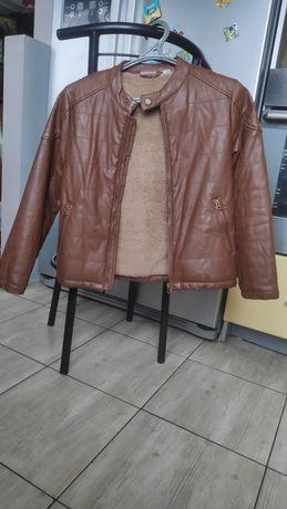 Куртка кожзам утепленная, кожанка, демисезон, на меху