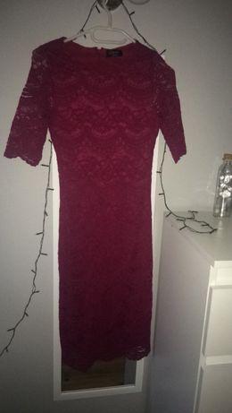 Koronkowa bordowa suknia