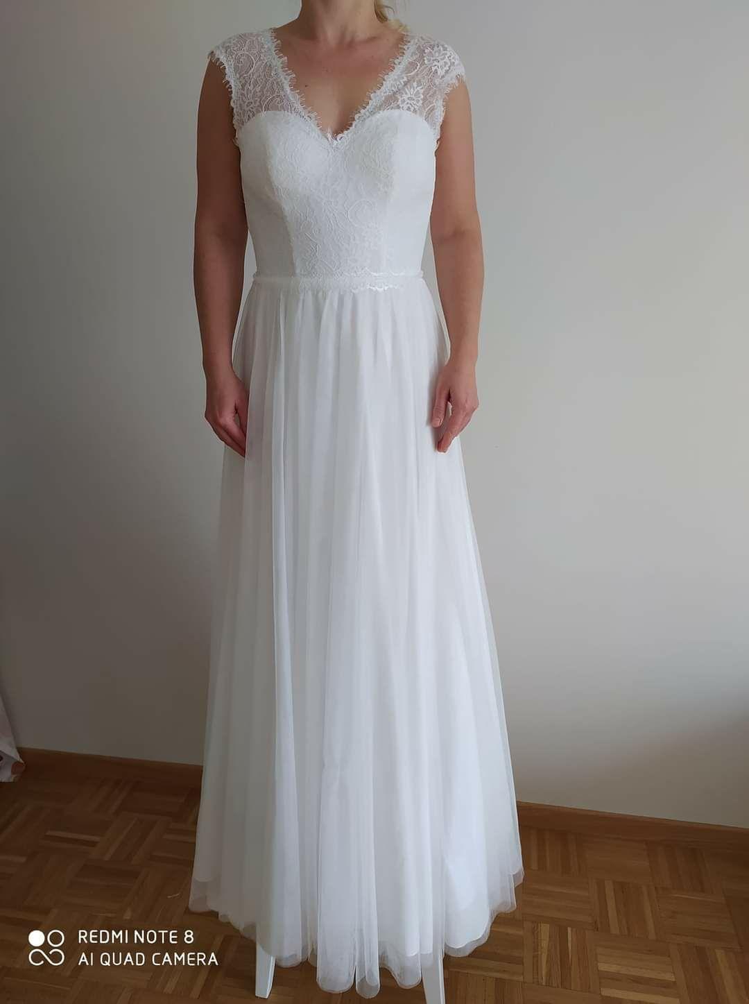 Sukienka ślubna, na ślub cywilny biała, nowa, rozmiar 36 (s)