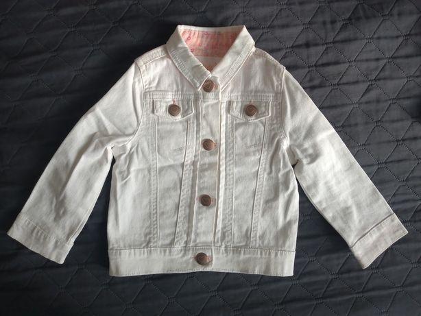 Biała jeansowa kurtka dla dziewczynki r. 86