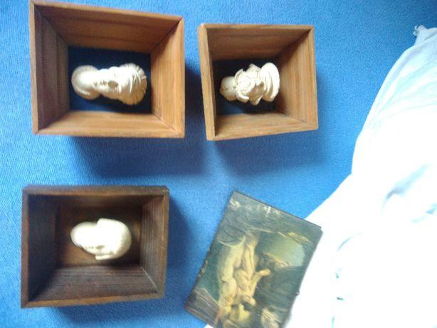 Głowa wawelska PRL kolekcjoner 3 szt z metką stare rzeżba obraz