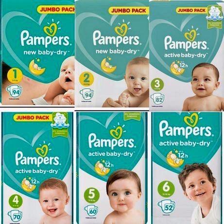 Продам подгузники Pampers active baby-dry 1, 2, 3, 4, 5, 6 (Россия).