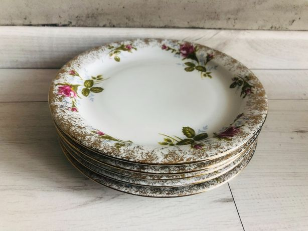 Talerz Wałbrzych PRL porcelana kwiaty kwiatki talerze komplet 6 sztuk