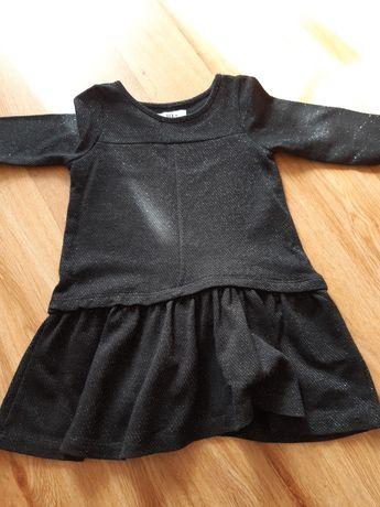 Czarna sukienka ze srebrną nitką. Roz. 2-3 lata