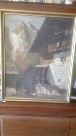 Stary obraz olejny na płótnie Alpy sprzedam.